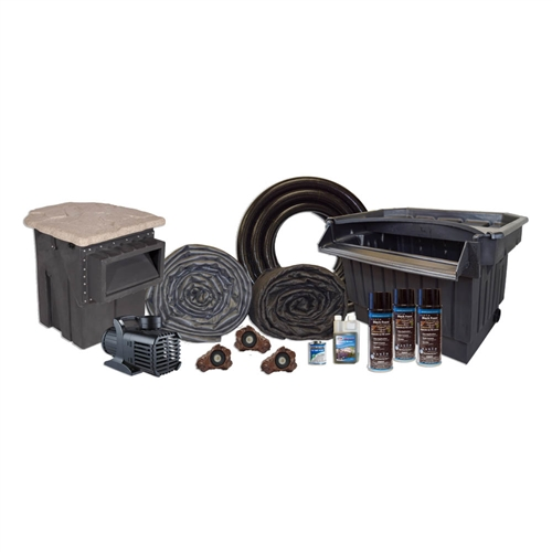 "Half Off Ponds MPB0 - PondBuilder Elite PRO 10000 Mega 50' x 80' EPDM Pond Kit w/ 15"" Skimmer & 40"" Waterfall"