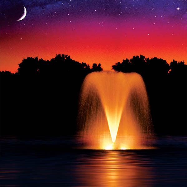 Lit Fountain - Orange 2