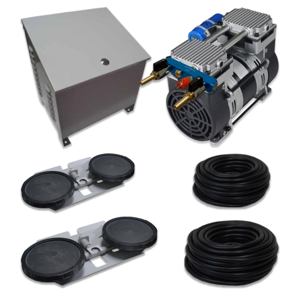 Pro Aeration System for 2 Acre Ponds & Lakes, with (2) Double Diffusers & 1HP Rocking Piston Pump - APXLRPS2-CAB