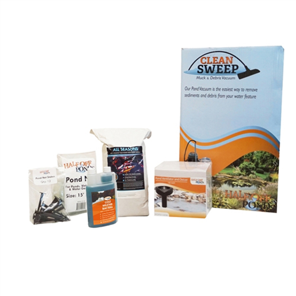 Medium Fall and Winterization Bundle with Vacuum, Pond Net, Deicer, Cold Weather Fish Food and Cold Water Bacteria - FWVACKITMED